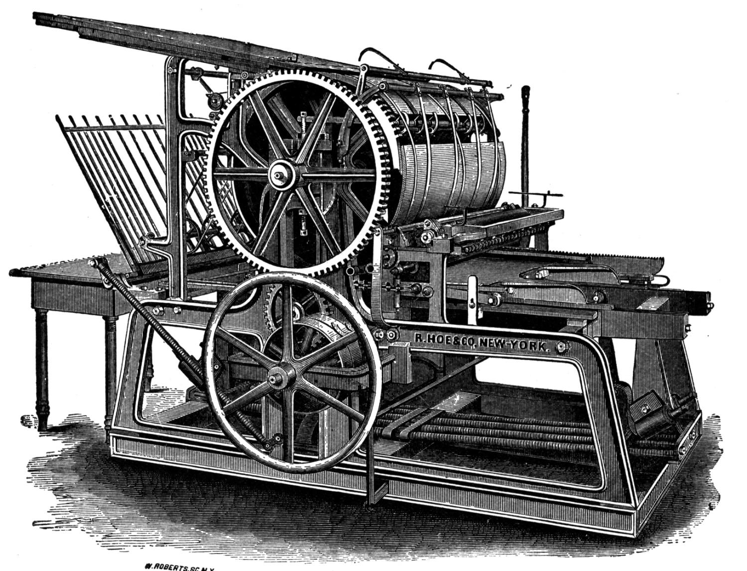 Printing press, product of the Industrial Revolution